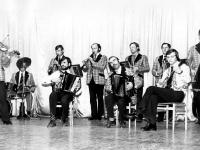Nuotrauka iš kapelos VILAINIAI archyvo. Viena pirmųjų kapelos sudėtis. Iš kairės: Povilas Šukys (smuikas), Kazimieras Jankus (mušamieji), Juozas Mrazauskas (klarnetas), Antanas Mikalauskas (armonika), Kęstutis Žydelis (klarnetas), Ferdinandas Juškevičius (armonika), Algis Jakas (trimitas), Vytautas Bauža (trimitas), Valerijus Gasiūnas (bandža), Antanas Lukianas (kontrabosas).